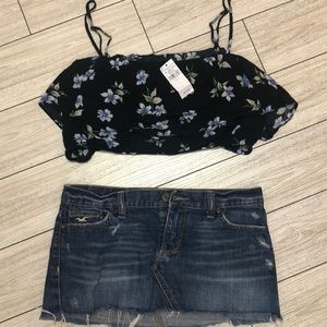 NWT American Eagle floral rayon cropped top. xL